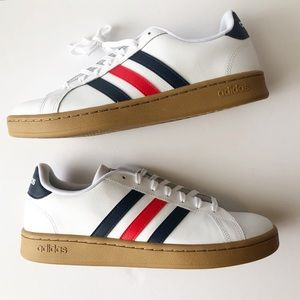 Adidas Men Grand Court Tennis Shoes White/Navy/Red